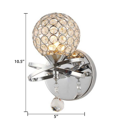 1 Light Ball Shade Sconce Lighting Modern Style Clear Crystal Wall Lamp, 5