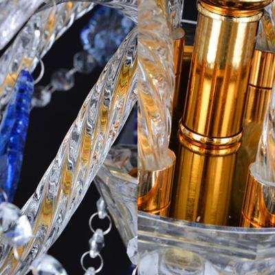 Traditional Flared Chandelier Clear Crystal 8 Lights Dark/Light Blue Pendant Lamp for Living Room