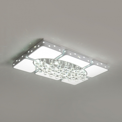 Contemporary Rectangle Ceiling Flush Mount Light with Clear Crystal Metal Ceiling Pendant in White