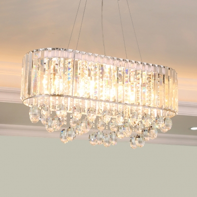 Clear/Smoke Grey Crystal Round Chandelier with 31.5 Adjustable Cord 9 Lights Modern Hanging Lights