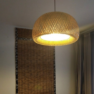 Double-Decker Bamboo Pendant Lights Restaurant 1 Light Suspended Light in Beige with Adjustable Hanging Cord