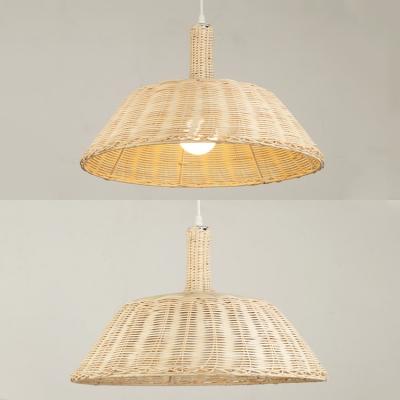 Beige Barn Shade Hanging Light Country Style Single Light Rattan Pendant Lamp for Restaurant