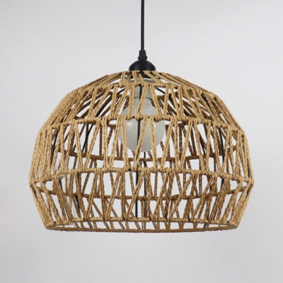 Beige/Coffee Dome Shade Ceiling Pendant Light Rustic Rope Single Hanging Lamp with 47