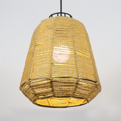 Rope Bucket Hanging Pendant Lamp in Simple Style Restaurant 1 Light Suspended Lamp in Beige