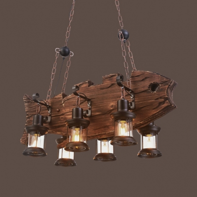 "6 Lights Lantern Hanging Island Lights Rustic Metal and Wood Length Adjustable Light Fixtures with 39"" Chain in Bronze, HL511212"