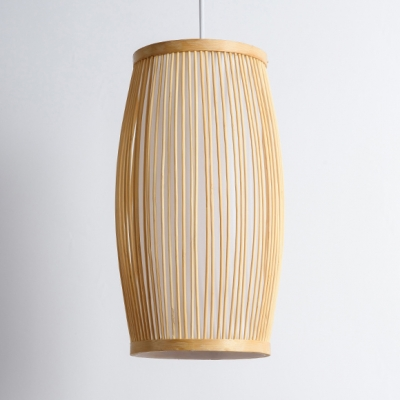 Asian Oval  Pendant Light Bamboo Hanging Ceiling Light in Wood with 59