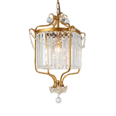 Black/Gold Drum Hanging Chandelier with 19.5