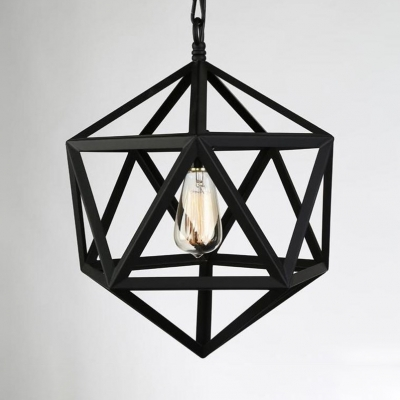 Black Hexagon LED Hanging Lamp Vintage Metal Pendant Lighting with 31.5
