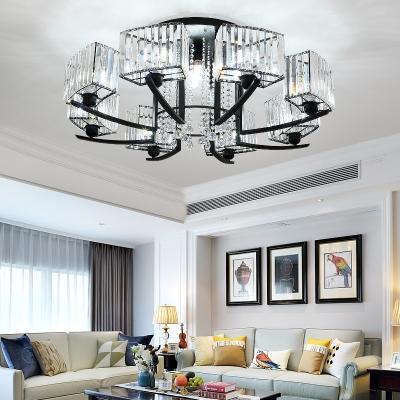 Black Rectangular Semi-flush Mount 5/7/12/16 Lights Modern Metal Light Fixtures for Living Room