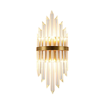 Clear Crystal Sconce Light 2 Lights Modern Sconce Wall Light in Gold for Living Room