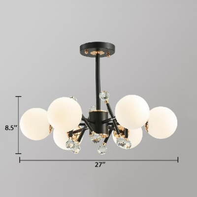 Contemporary Black Pendant Lamp with White Glass Shade and Clear Crystal Ball 3/5/6 Lights Hanging Chandelier