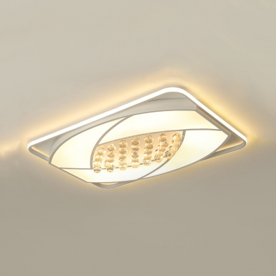 Contemporary White Ceiling Flush Mount Light with Rectangle Acrylic Ceiling Fixture