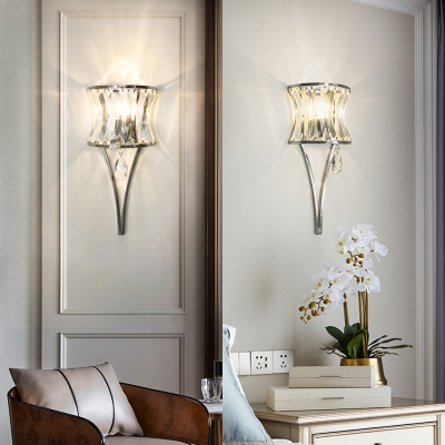 Curved Wall Sconce with Clear Crystal Bedroom Single Light Modern Wall