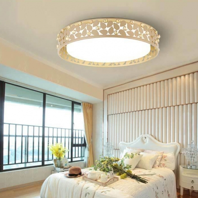Drum LED Flush Light Bedroom Contemporary Ceiling Pendant with Leaf and Clear Crystal Decoration in White