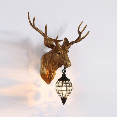 meet abe4a cef82 Elk Designed Indoor Wall Light Clear Crystal 1 Light Antique Wall