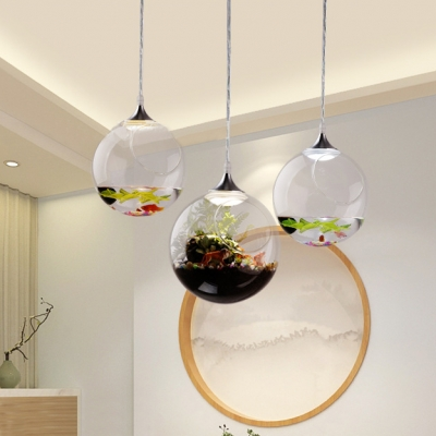 Living Room Globe Hanging Pendant Light Open Glass Rustic LED Hanging Ceiling Lights with 39