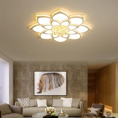 Living Room LED Flush Light Acrylic Modern White Flush Ceiling Light