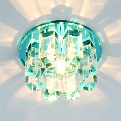 Modern Gold/Blue/Green Flush Light with Round Canopy Clear Crystal Ceiling Pendant