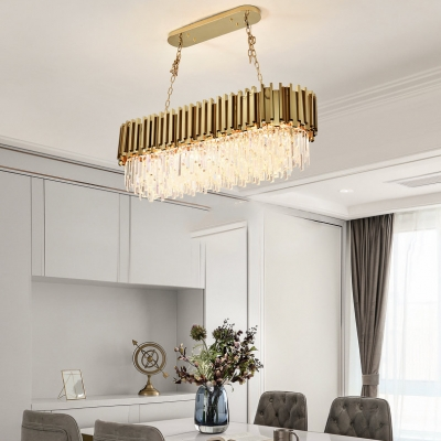 Modern Rectangle Pendant Light 8/10/12 Lights Clear Crystal Chandelier with Adjustable Cord in Gold
