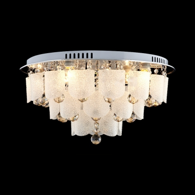 Multi Lights 3 Tiers Ceiling Light Fixture Vintage Style Glass Flushmount Lighting with Clear Crystal
