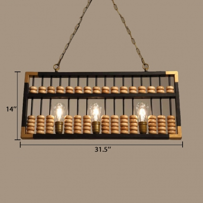 Rectangle Island Pendant Lights Dining Room 3 Lights Rustic Height Adjustable Hanging Pendant with 23.5