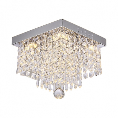 Rectangular Bedroom Flush Mount Clear Crystal 1 Light Contemporary Chandelier in Nickel