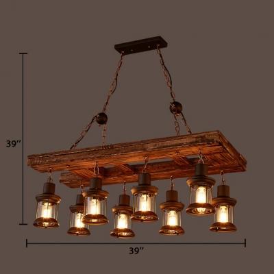 Vintage Lantern Island Light Fixtures Glass 8 Lights Black Ceiling Pendant with 39