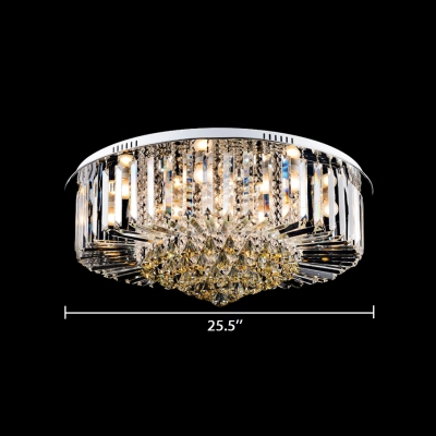 Vintage Style Flush Mount Lighting Clear and Amber Crystal Multi Lights Ceiling Light Fixture for Living Room