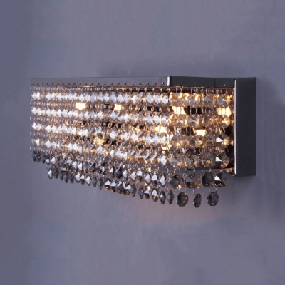3/4 Lights Rectangular Wall Mount Light Fixture Modern Style Clear and Amber Crystal Bead Sconce Lighting