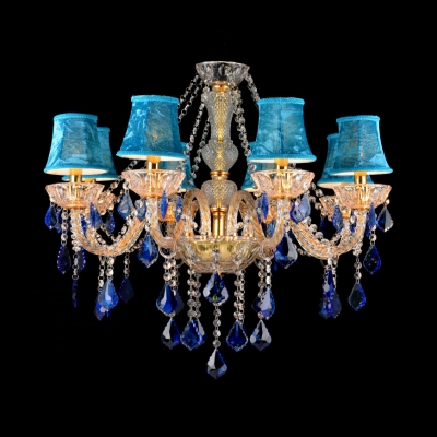 Traditional Flared Chandelier Clear Crystal 8 Lights Dark/Light Blue Pendant Lamp for Living Room