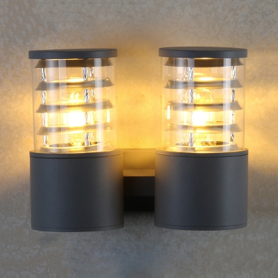 Фото #1: 2 Lights Cylinder Wall Lights Modern Waterproof Security Light for Patio and Yard