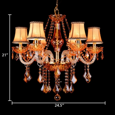 6 Lights Tapered Chandelier Traditional Length Adjustable Red Crystal Hanging Chandelier with 12