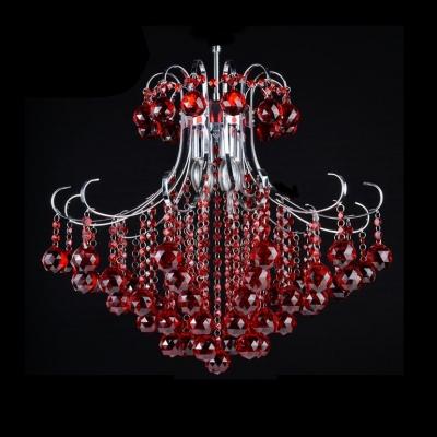 Adjustable Clear Crystal Hanging Light Fixtures Bedroom 3 Lights Modern Chandelier Light in Red