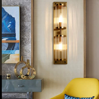 Brass Cylinder Wall Light 2 Lights Metal Wall Lamp with Clear Crystal for Bathroom