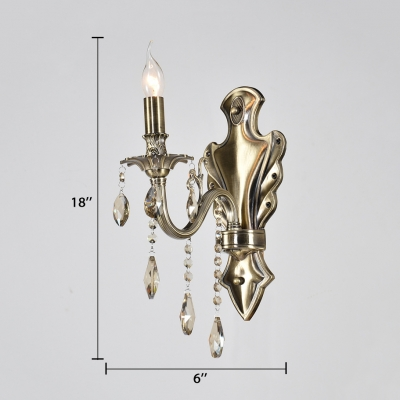 Candle House Sconce Lighting with Clear Crystal Metal 1/2-Light Antique Style Wall Light Fixture in Aged Brass