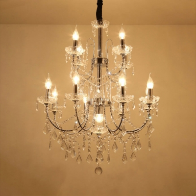 Candle Living Room Chandelier Clear Crystal 13 Lights Traditional Hanging Lights with 12