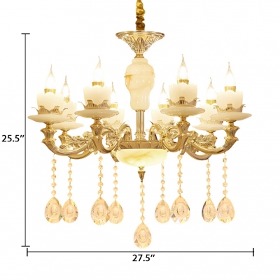 Candle Living Room Sconce Light Clear Crystal 6/8/15 Lights Traditional Wall Lamp in Gold
