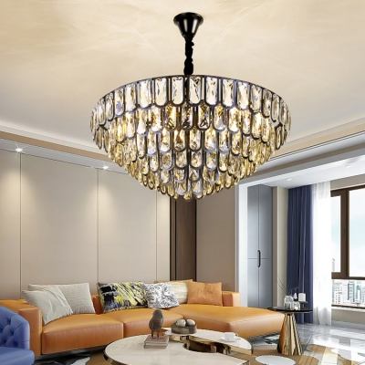 Clear Crystal Multi Tiers Chandelier 4/12 Lights Contemporary Hanging Lamp in Black for Hall