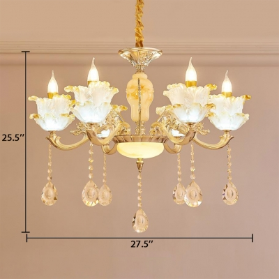 Clear Crystal Scrolling Arm Wall Sconce with Flower Decoration 6/8 Lights Classic Sconce in Gold