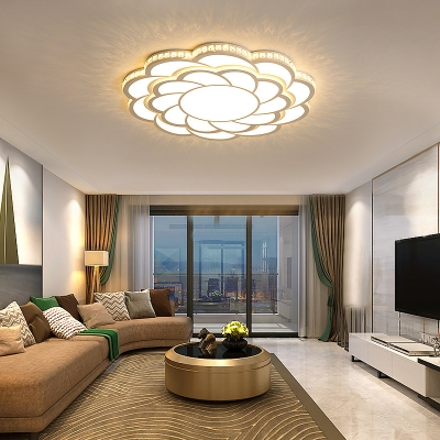 Contemporary Petal Flush Ceiling Light Dining Room LED Light Fixture