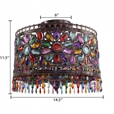 Drum Living Room Semi Flush Light with Colorful Crystal Beads 3 Lights Vintage Ceiling Light