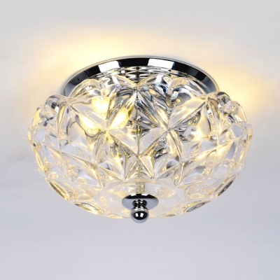 Flared Bedroom Ceiling Light Clear Crystal 2/3-Light Contemporary