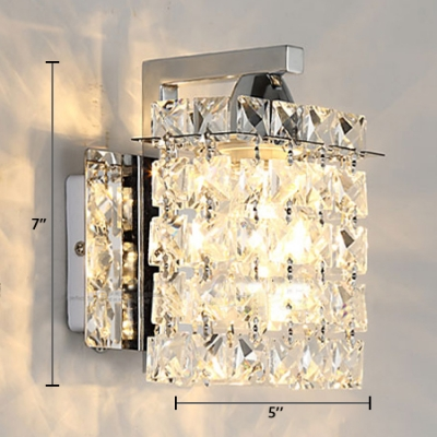 House Rectangle Sconce Light Clear Crystal Antique Style Chrome Wall Mounted Lighting