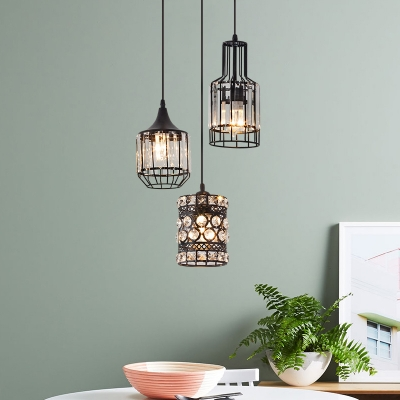 Kitchen Pendant Lights Crystal with Hanging Cord, Adjustable Drum