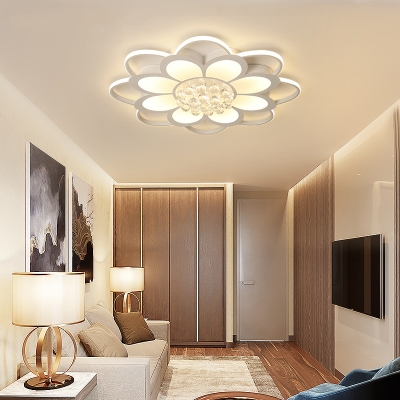 Modern Flower Ceiling Lamp Acrylic LED Ceiling Fixture with Clear Crystal in White for Living Room
