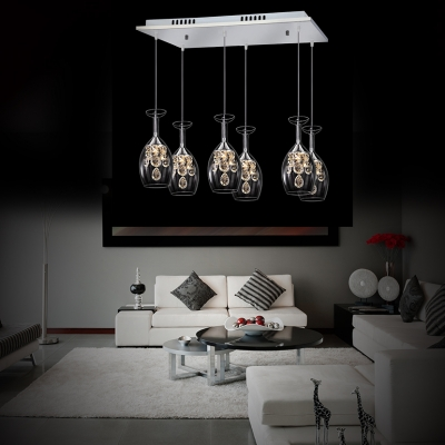 Modern Pendant Lighting for Dining Room, 3/5/6 Light Wine Bottle Clear Crystal Pendant Lighting in Nickle with 37