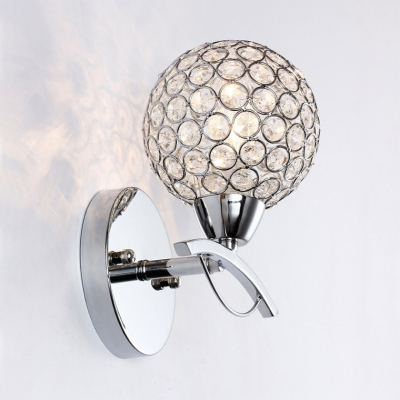 Modern Style Globe Sconce Lighting Clear Crystal Wall Mounted Light