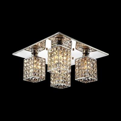 Rectangular Semi Flush Light for Living Room Multi Lights Contemporary Style Clear Crystal Ceiling Lighting