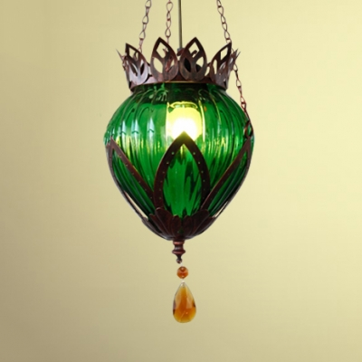 Restaurant Globe Hanging Lamp Metal Antique Rust Pendant Lamp with Crystal Decoration