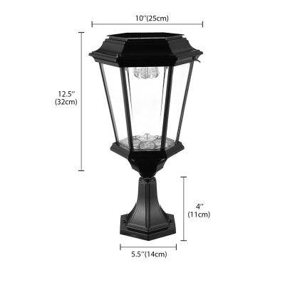 Solar Powered LED 16 Inches High Outdoor Post Light in Black Finish